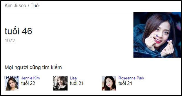 Jisoo 46 tuổi trên Google.
