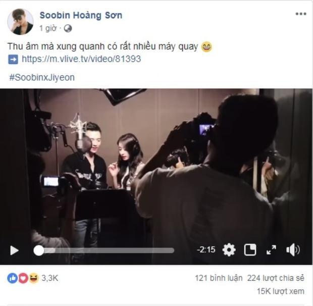 Dòng trạng thái trên trang fanpage của Soobin Hoàng Sơn.