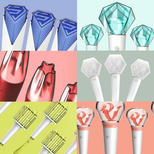 """Dàn lightstick chính thức của """"gà"""" SM gồm có Super Junior, SHINee, TVXQ, EXO, NCT và Red Velvet."""