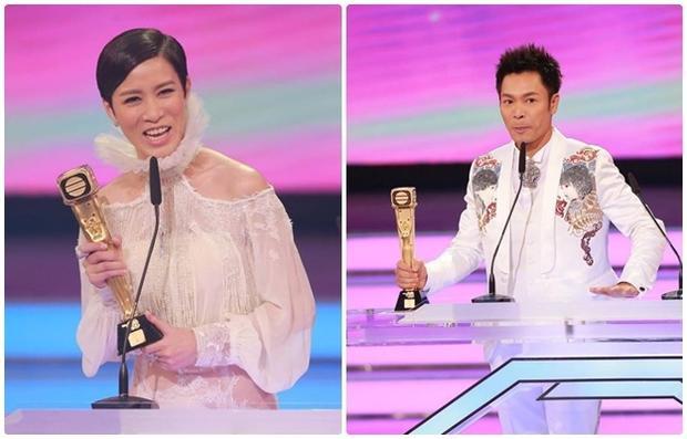 Thị hậu Xa Thi Mạn - Thị đế Quách Tấn An cùng nhận giải, cùng rời đài.