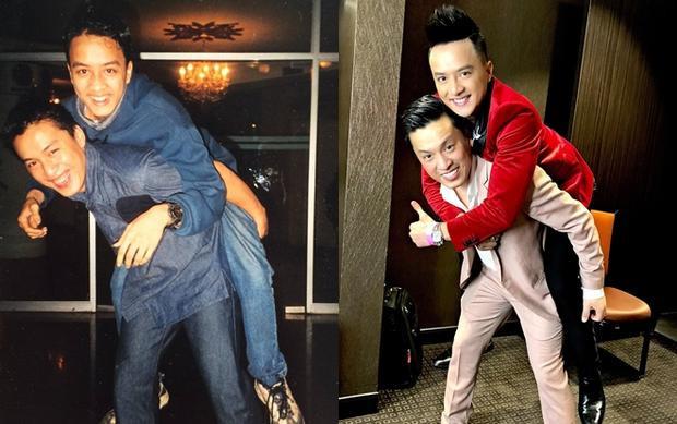 """Cao Thái Sơn vui vẻ đăng tấm ảnh được """"anh hai"""" cõng trên vai khiến khán giả được một phen bất ngờ vì trông Lam Trường không có nhiều thay đổi dù đã qua hẳn… 18 năm."""