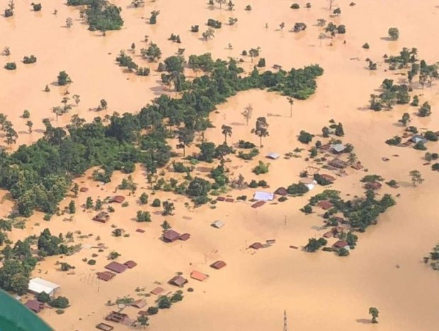 Đập thủy điện Xe Pian-Xe Namnoy bị vỡ gây ngập lụt ở ở tỉnh Attapeu, đông nam Lào. Ảnh: IT.