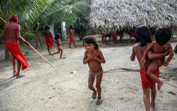 Trẻ em Waiapi nhiễm cảm lạnh vì mưa tại làng Manilha, bang Amapa ở Brazil. Một nửa dân số bộ lạc của họ đã bị xóa sổ vì bệnh tật. Ảnh: Odditycentral
