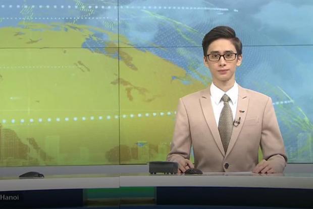 MC điển trai dẫn dắt bản tin trên VTV4 số phát sóng ngày 30/12/2017.