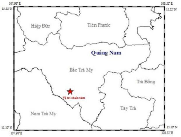 Biểu đồ thể hiện vị trí chấn tâm của trận động đất xảy ra sáng nay. Ảnh: Viện Vật lý Địa cầu.