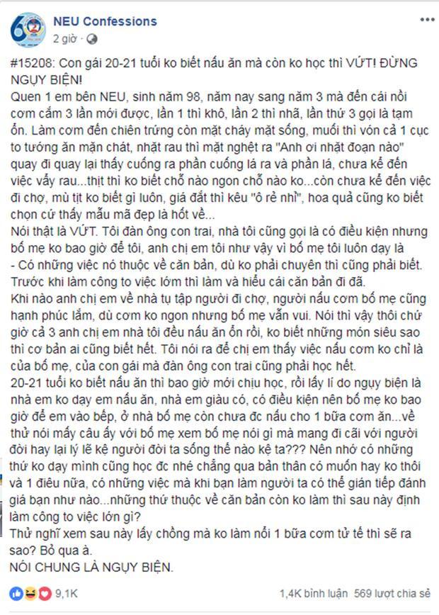 Dòng chia sẻ của một bạn trai trên fanpage NEU Confession