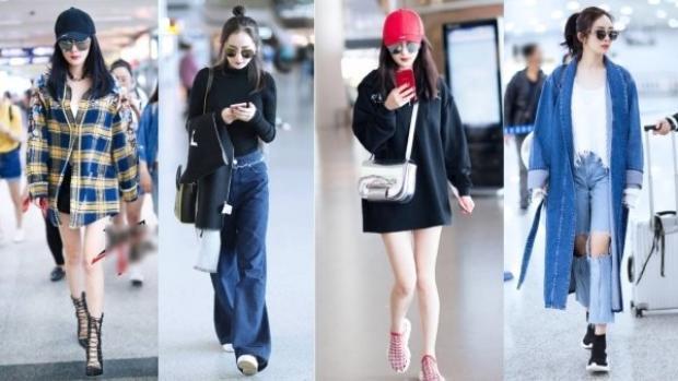 Nữ diễn viên biến sân bay thành sàn diễn thời trang với những bộ cánh cực trendy, trẻ trung và phong cách đa dạng.
