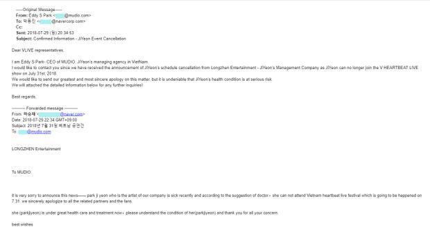Hình ảnh đại diện Jiyeon gửi mail thông cáo báo chí về việc Jiyeon sẽ không thể tới Việt Nam biểu diễn.