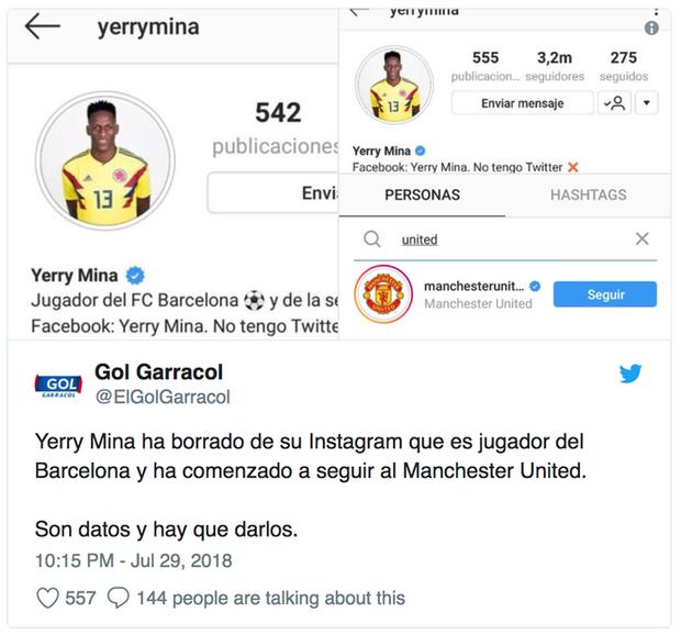 Mina xóa tên Barca trên hồ sơ mạng xã hội Instagram và để chế độ theo dõi MU.