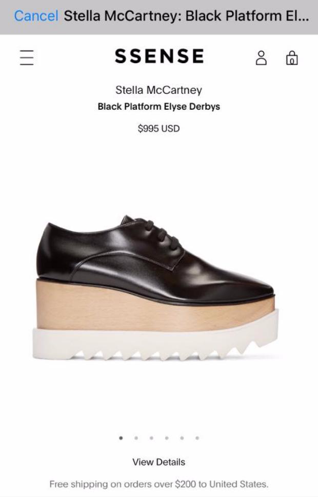 Được biết, đôi giày này là một sản phẩm của thương hiệu Stella McCartney, có giá lên đến 20 triệu đồng.