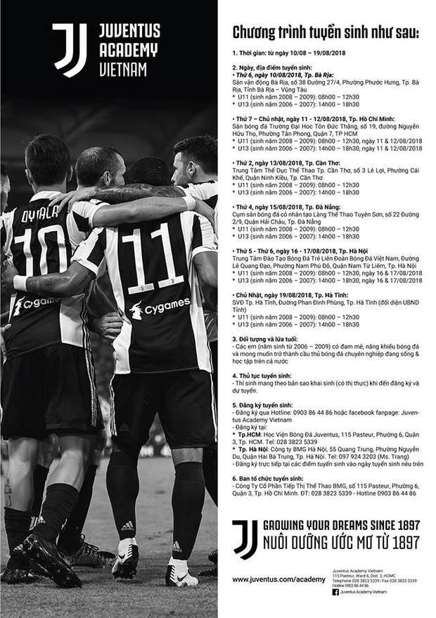 Lịch tuyển sinh của Học viện Juventus Việt Nam trên toàn quốc.