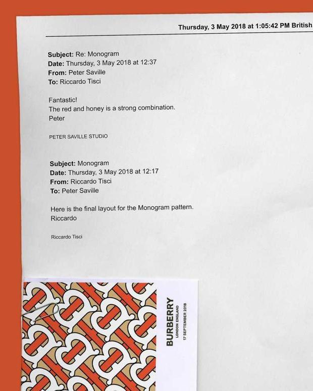 Logo và họa tiết monogram mới của Burberry là kết quả làm việc của Giám đốc Sáng tạo Riccardo Tisci với công ty thiết kế Peter Saville Studio