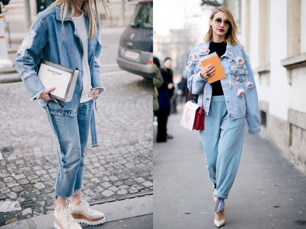 Những chiếc áo khoác jeans độc đáo tô điểm những họa tiết bông hoa bên ngoài