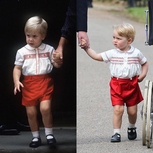 Khi hoàng tử George lên 2 tuổi, cậu diện thiết kế quần shorts đỏ nổi bật, áo trắng thêu hoa văn kết hợp với đôi giày đen đồng hiệu Start-Rite và tất nhiên không thể thiếu một đôi tất trắng. Nhìn vào George, người ta lại nhớ đến hình ảnh cha của cậu bé, hoàng tử William, trong thiết kế gần như hoàn toàn tương đồng cách đây 34 năm.