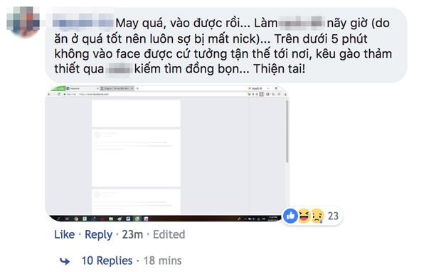 """Không ít người sẽ phải thở phào nhẹ nhõm khi nhận ra không phải chỉ mình mình bị """"sập"""" Facebook."""