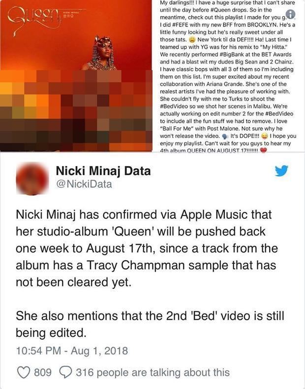 Nicki Minaj xác nhận sẽ rời lịch phát hành album lần thứ hai do vấn đề bản quyền ca khúc.