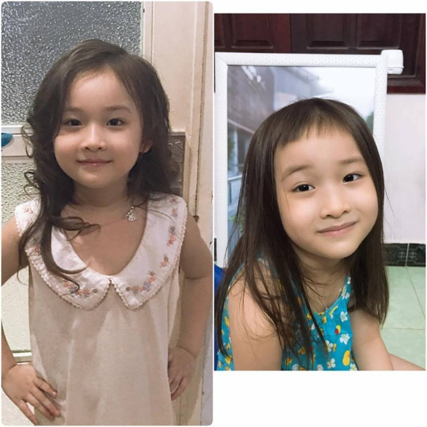 Hình ảnh trước và sau khi cắt tóc.