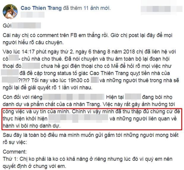 Trang thái giải thích rõ câu chuyện và tuyên bố khởi kiện của Thiên Trang trên trang cá nhân.