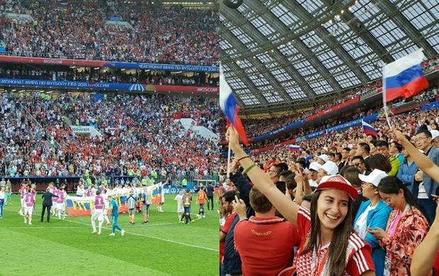 """""""Không biết Nga sẽ đấu với Croatia thế nào, nhưng cột mốc lúc này, cũng đã là một thành công lớn vì họ chưa từng qua vòng bảng nay đã vào tứ kết. Những lời hô vang """"Russia!"""" trên khán đài đã làm cho đội tuyển thêm kiên cường. Ở các con đường mọi người náo nức với chiến thắng. Một lần nữa cảm ơn Visa đã cho mình cơ hội đến tận Nga thưởng thức không khí này"""" - Phượt thủ Hoàng Lê Giang chia sẻ cảm xúc của mình sau trận đấu. Cùng Hoàng Lê Giang và Hoàng Bách điểm lại những khoẳng khắc ấn tượng mùa FIFA World Cup 2018"""