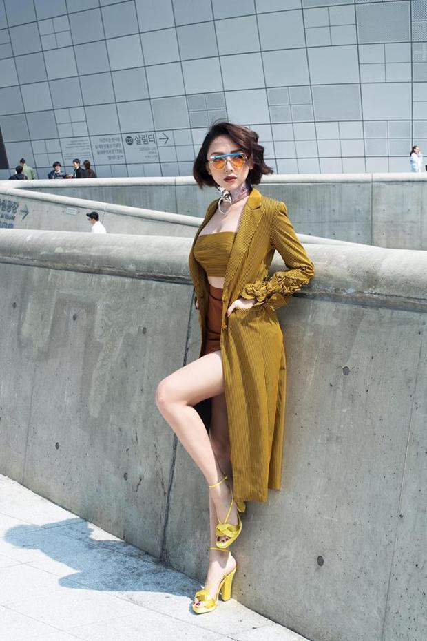 Năm ngoái, cô cùng dàn sao Việt tham dự Seoul Fashion Week, thu hút phóng viên quốc tế bởi những bộ cánh bắt mắt, hiện đại. Nữ ca sĩ cũng lọt top street style của các tạp chí Vogue, W.