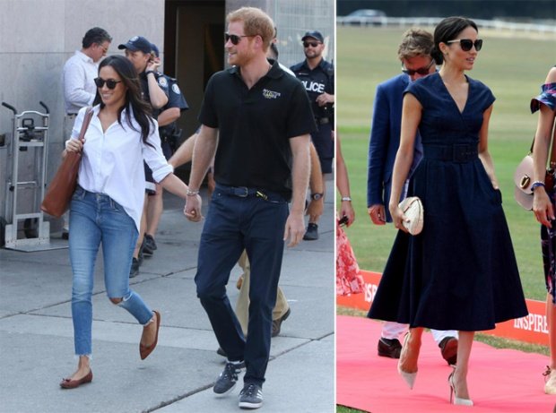 Trước khi kết hôn với hoàng tử, Meghan là fan của quần bò rách (trái). Hiện tại, cô vẫn mặc denim nhưng chuyển sang một phong cách khác, quý phái hơn (phải).