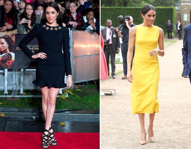 Meghan diện một chiếc váy bó và ngắn trên thảm đỏ năm 2013 (trái) nhưng giờ, Nữ công tước mặc váy dài qua đầu gối (phải).