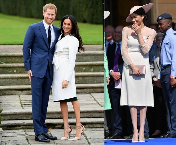 Tại buổi công bố tin đính hôn, Meghan vẫn để chân trần (trái). Tuy nhiên, trong lần xuất hiện công khai đầu tiên sau đám cưới, nữ công tước đã đi tất chân (phải).