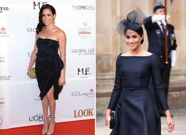 Meghan thoải mái diện váy hở vai tại sự kiện năm 2013 (trái). Cô chọn trang phục cổ thuyền kín đáo hơn khi dự lễ kỷ niệm 100 năm lực lượng Không quân Hoàng gia hồi tháng 7 (phải).