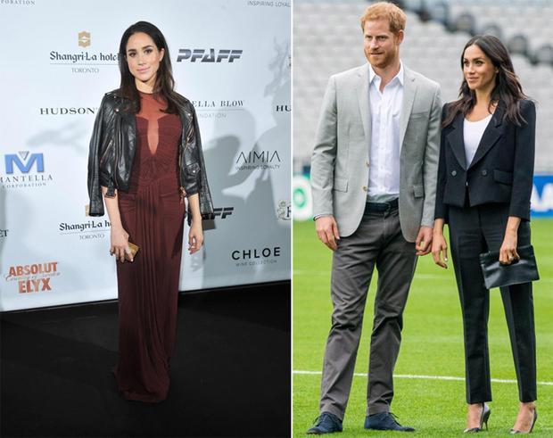 Meghan mê đắm kiểu áo da khoác hờ trên vai trước khi làm dâu hoàng gia (trái). Nhưng giờ, cô phải luôn mặc áo khoác đúng cách (phải).