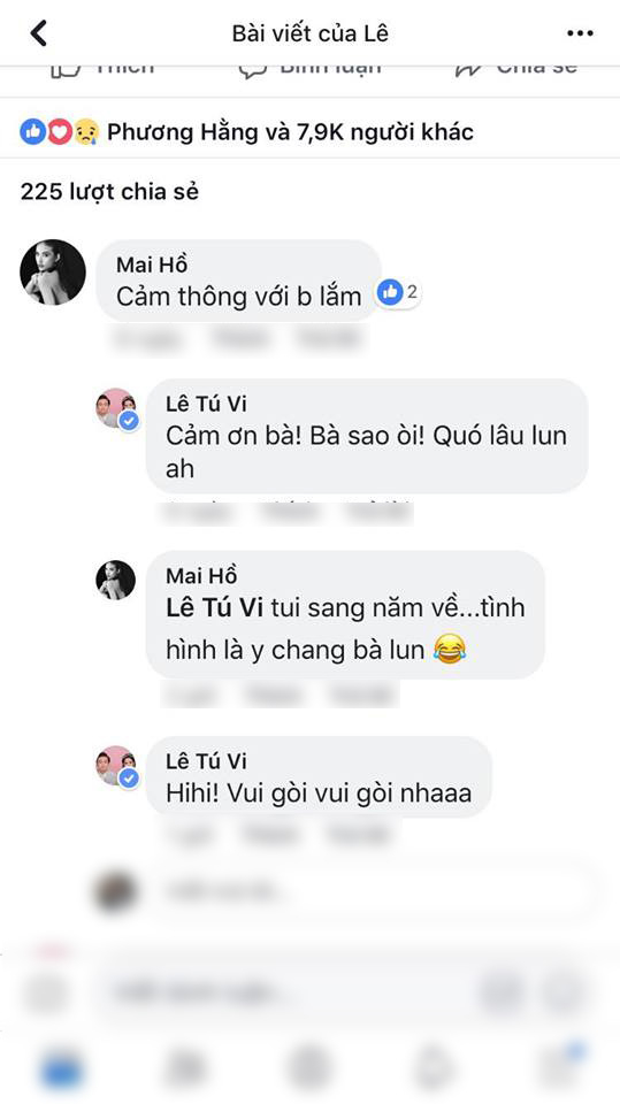 Dòng bình luận của Mai Hồ dưới status của Tú Vi khiến nhiều người nghi ngờ cô đã sinh con.