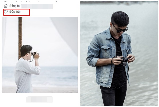 """Chân dung chàng photographer điển trai. Trên trang facebook cá nhân, anh """"set"""" chế độ độc thân."""