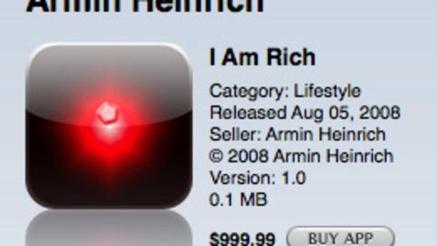 """Ứng dụng có giá gần 1.000 USD mang tên gọi """"I am Rich"""" từng gây ra rất nhiều tranh cãi."""
