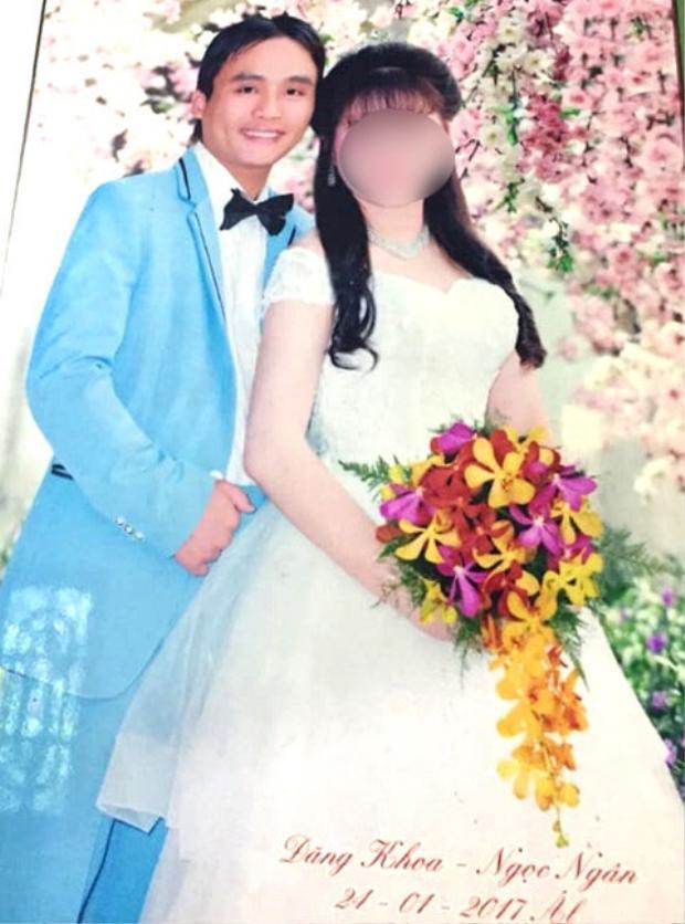 Bức ảnh chị Ngân chụp với Nguyễn Đăng Khoa trong ngày cưới. Ảnh: Thanh niên.