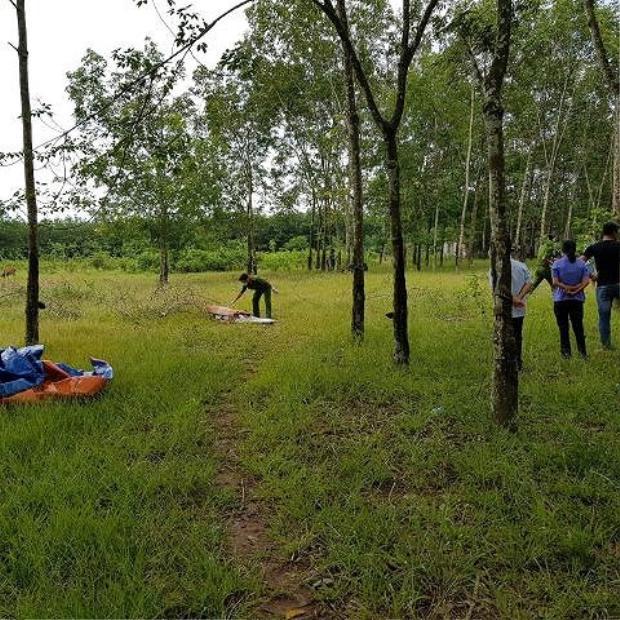 Vị trí tìm thấy thi thể nạn nhân ở vườn cao su mà Xuân vứt xác.