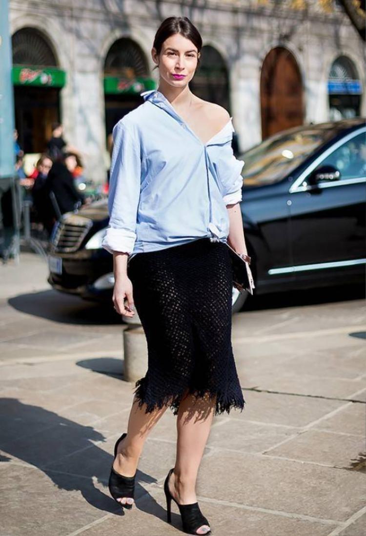 5 bước để biến áo sơ mi thành váy sexy