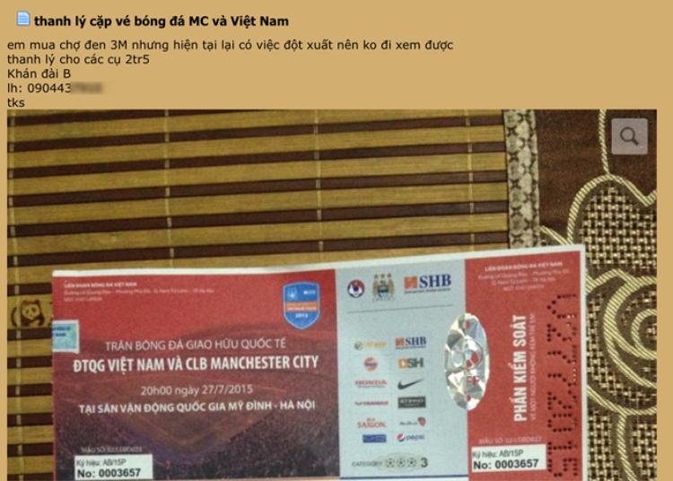 Vé chợ đen trận ĐT Việt Nam  Man City giảm ngang giá gốc
