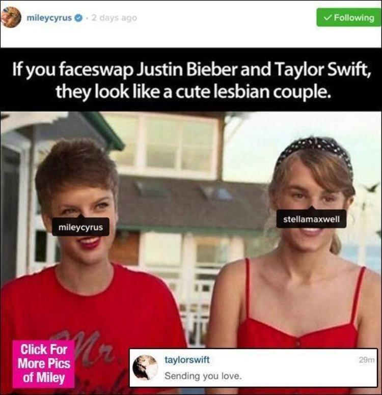 Taylor Swift tức giận trước bức ảnh ghép của Miley Cyrus