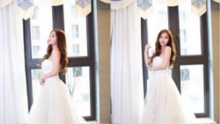 Vẻ đẹp yêu kiều của Kaikai trong trang phục váy cưới.