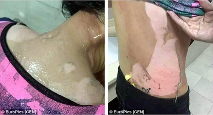 Kinh hoàng clip hot girl bị phục vụ nam dội nước nóng lên đầu