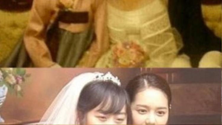 Han Ga In có khuôn mặt nhỏ nhắn hơn người chị ruột. Hai chị em nữ diễn viên cũng có nét đẹp riêng.