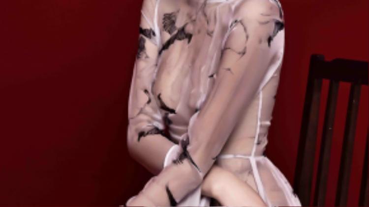 Cô diện bộ sưu tập có họa tiết chim hạc lạ mắt của nhà thiết kế Việt Quang Nguyễn. Bộ sưu tập này cũng đã được trình diễn tại tuần lễ thời trang London 2015.