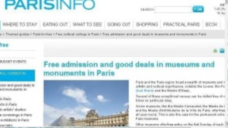 ParisInfo trang thông tin hữu ích dành cho những du khách có ý định tham quan các bảo tàng tại thành phố Paris (Pháp)