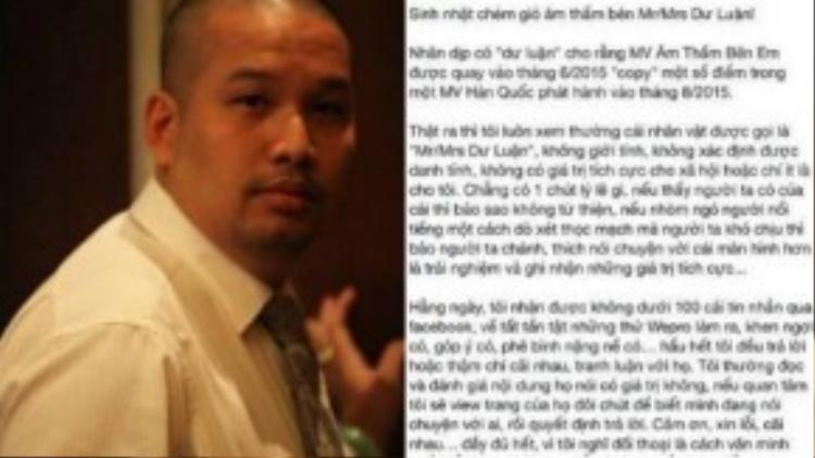 Ông bầu Quang Huy và status đáp trả dư luận của anh.