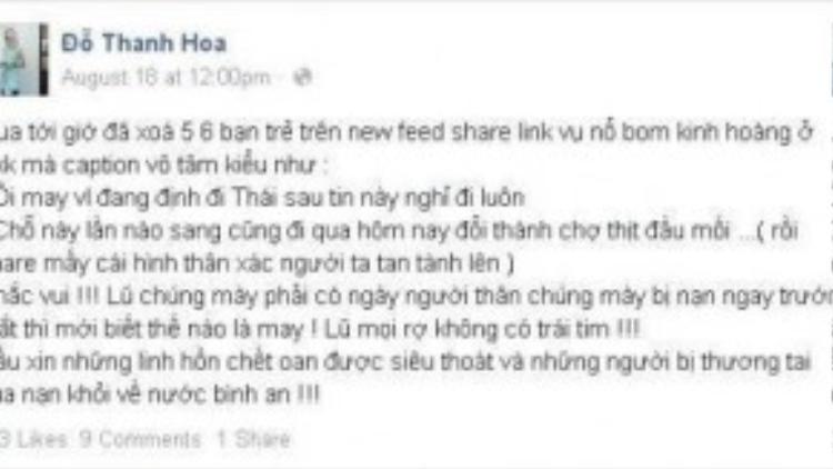 Stylist Pông Chuẩn (Đỗ Thanh Hoa) đã quyết định xóa những bạn trong friendlist chia sẻ phản cảm về vụ nổ bom tại Thái Lan