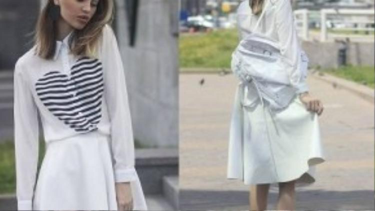 Mix áo sơ mi trắng cùng chân váy sẽ khiến bạn trở nên điệu đà và thời thượng hơn.