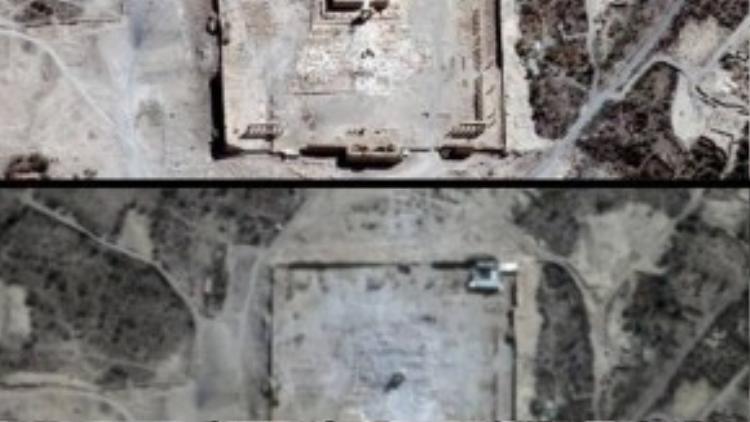 Hai tấm hình trước (ảnh trên) và sau khi đền Bel ở Syria bị những chiến binh Nhà nước Hồi giáo (IS) tự xưng phá hủy.