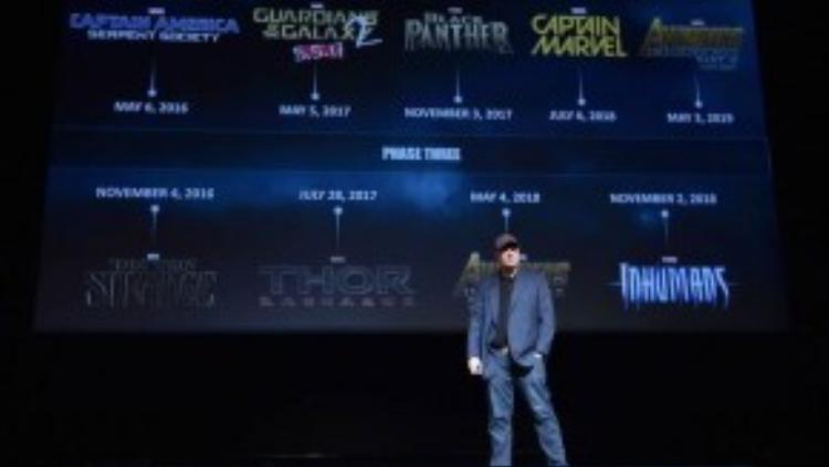 Kevin Feige trong buổi công bố Giai đoạn 3 (Phase 3) của Vũ trụ điện ảnh Marvel.