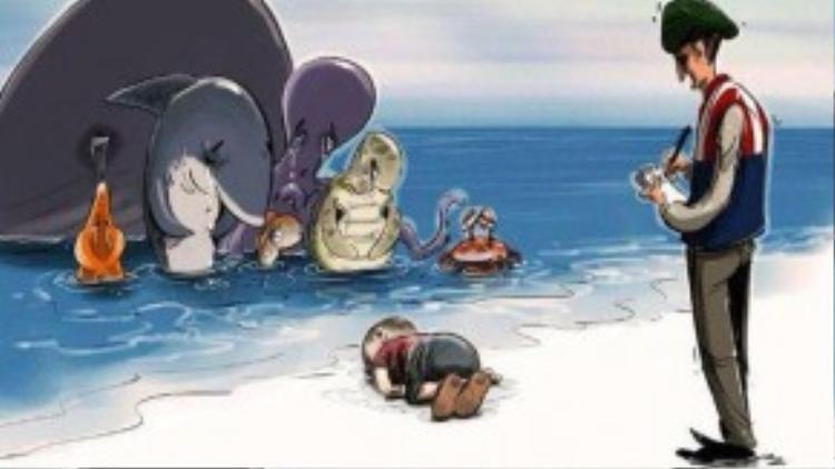 Nhiều nghệ sĩ đã vẽ tranh biếm họa về câu chuyện đáng thương này.