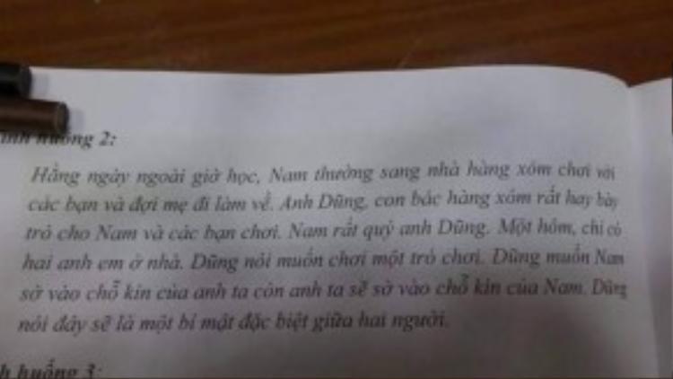 Hình chụp một phần trang sách có nội dung nhạy cảm mà cư dân mạng chia sẻ. (Nguồn ảnh: FB Nguyễn Bảo)