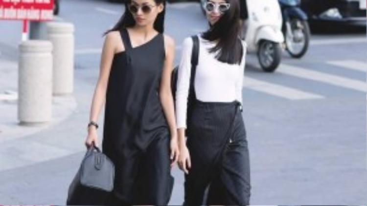 Trong một phong cách khác, Cao Thiên Trang và Thùy Dương chọn thiết kế của 89.91 Studio với trắng đen là tông màu chủ đạo. Hướng đến hình ảnh người phụ nữ hiện đại, sắc sảo nhưng cũng rất gợi cảm, nữ tính, cả hai đã tạo nên một sức hút mãnh liệt cho những bộ trang phục thời thượng được cắt may vô cùng tinh tế.